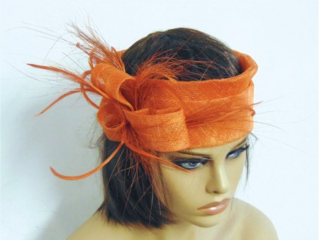 Tocado turbante naranja