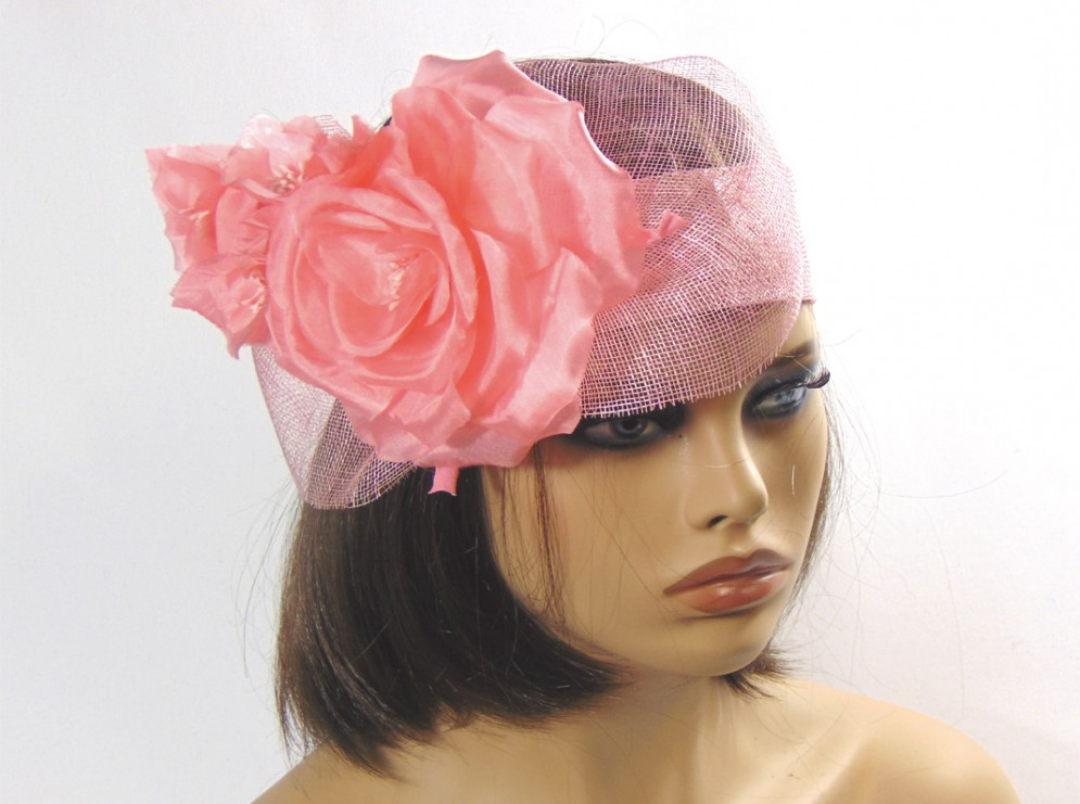 Tocado turbante rosa flor