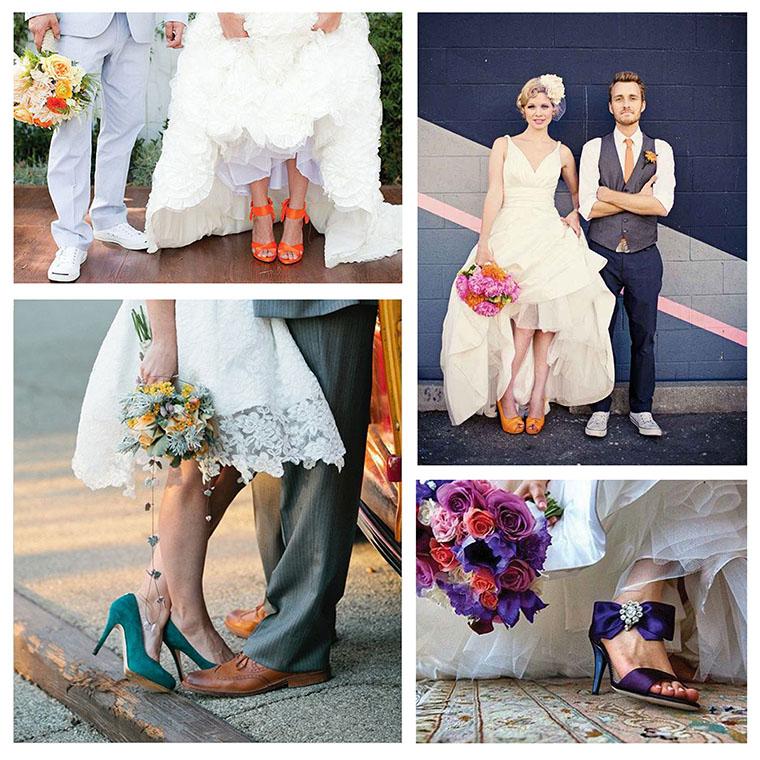 ahora el color se lleva en los zapatos de novia | jamir. sombreros