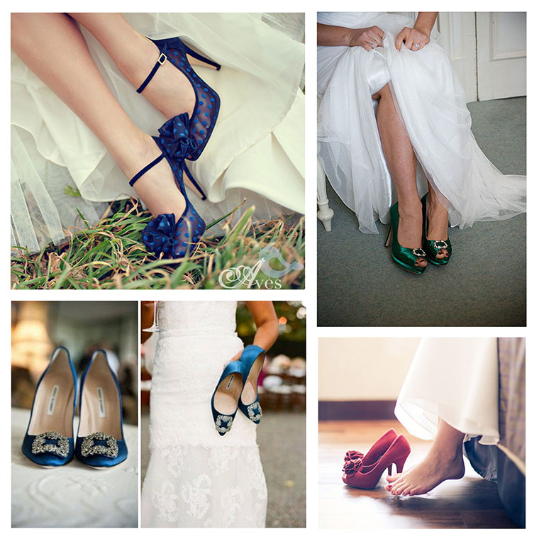 ahora el color se lleva en los zapatos de novia   jamir. sombreros